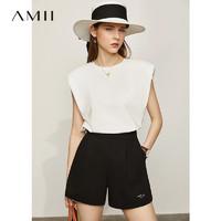 Amii极简复古垫肩冰瓷棉无袖T恤女2021夏季新款宽松白色背心上衣
