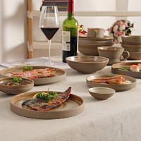 磨砂粗陶日式餐具套装陶瓷菜盘盘子日本料理店创意餐盘碟子大小号